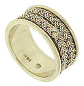 14K woven design patterns in tri-colored gold  cover the center of this wedding ring