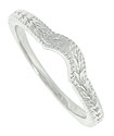 Repeating leaf and stem patterns adorn the face and sides of this 14K white gold stackable wedding band