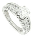 This 14K white gold antique style engagement ring is set with a dazzling .78 carat, F color, Si1 clarity round diamond