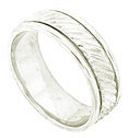 A rippling band of 14K white gold flows down the center of this handcrafted modern wedding band