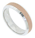 This handsome 14K bi-color wedding band features a machine lathed appearance