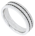 Two ribbons of corrugated white gold are pressed between the satin finished bands of this 14K white gold mens wedding band