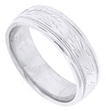 This 14K white gold antique style mens wedding band features a repeating pattern of engraved wheat