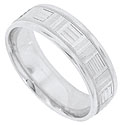 A handsome repeating pattern of horizontally and vertically etched bars cover the face of this 14K white gold mens wedding band