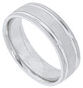 Brightly carved stripes flank the edges of this satin finished 14K white gold mens wedding band