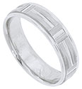 Wide horizontal stripes weave through vertical bands on this 14K white gold mens wedding band