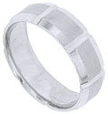 This 14K white gold mens wedding band features a satin finish with smooth polished machine milled edges