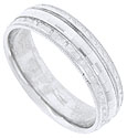 A square hewn pattern repeats across the face of this 14K white gold mens wedding band