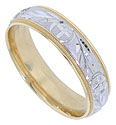 This 14K Bi-color mens wedding band features a white gold central band covered in an alternating pattern of palm fronds and crucifixes