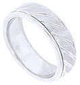 This handcrafted 14K white gold mens wedding band is decorated with deeply carved angled lines