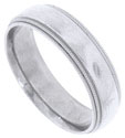 This 14K white gold mens antique style wedding band features a brightly polished band edged in double rows of distinctive milgrain decoration