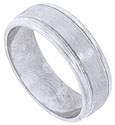 This handcrafted 14K white gold mens wedding band features a satin finish design