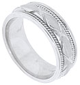 A bold open weave pattern slices into the satin finish of this 14K white gold mens wedding band