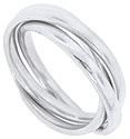Three 14K white gold smoothly polished bands are intertwined in this antique style mens wedding band