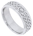 A bold open celtic weave circles the face of this 14K white gold mens wedding band