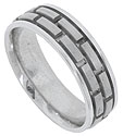 Two wide bands of 14K white gold bricks are set into the center of this modern style mens wedding band