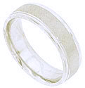 Regular repeating matte texturing span the circumference of this 14K white gold mens wedding band