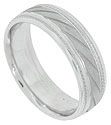This 14K white gold mens wedding band features a satin finished band engraved with wide spread diagonal lines