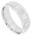 This 14K white gold mens wedding band features a central pattern of multiple engraved lines separated by wide sliced stripes