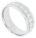 Wide bands and alternating rows of milgrain cover the face of this 14K white gold mens wedding band
