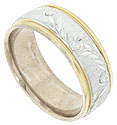 This 14K bi-colored mens wedding band features a satin finished central band with a deeply engraved garland of leaves and flowers
