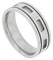 Deeply carved rectangular windows wind around the center of this 14K mens white gold wedding band
