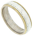 This 14K bi-color mens wedding band features a central band of white gold with deeply impressed edges