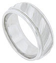 This 14K white gold mens wedding band features a wide band impressed with repeating diagonal stripes