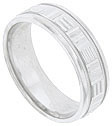 Alternating horizontal and vertical carved bands cover the face of this 14K white gold mens wedding band