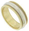 This handcrafted 14K bi-color gold mens wedding band features a polished 14K white gold central band flanked by twisting ropes of yellow gold and smooth polished edges