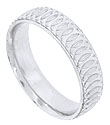 Repeating circular engraving spirals across the face of this 14K white gold mens wedding band