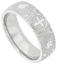 This satin finished 14K white gold mens wedding band features a brightly engraved circular carved cross surrounded by abstract flowers and open rings