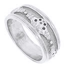 Three handsomely carved claddagh encircle the center of this 14K white gold mens modern wedding band