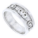 A handsome carved claddagh design rests in the center of this 14K white gold mens modern wedding band