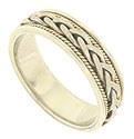This handcrafted 14K bi-color mens wedding band features a central braid of white gold