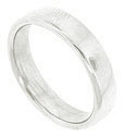 This classic 14K white gold mens wedding band is a brightly polished ring with rounded edges