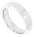The matte finish on this 14K white gold mens wedding band gives the ring a machine milled appearance