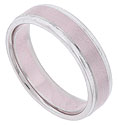 A satin finished pink gold central band is flanked by brightly polished white gold edges on this 14k bi-color mens wedding band