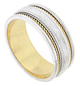 A richly decorated central band is flanked by twisting ropes of yellow gold on this 14K white gold mens wedding band