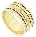This 14K yellow gold mens wedding band features a richly engraved central band flanked by smooth bands, twisting ropes and bright polished edges