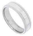 Strips of distinctive milgrain flank the smooth, polished central band of this 14K white gold mens wedding band