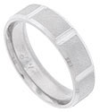 A repeating pattern of deep angled cuts interrupts the satin surface of this 14K white gold mens wedding band