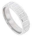The roughened texture of this 14K white gold mens wedding band is interrupted by a repeating pattern of deeply carved slices