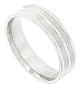 A double ring of multiple engraved lines encircles the face of this 14K white gold mens wedding band