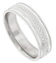 A repeating pattern of engraved acanthus leaves encircles the face of this 14K white gold mens wedding band