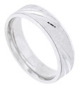 Engraved lines cover the face of this 14K white gold mens wedding band