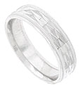 A prism of faceted triangles sparkles on the face of this 14K white gold mens wedding band