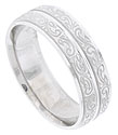 Two raised stripes covered in a richly engraved organic design decorate this mens 14K white gold wedding band