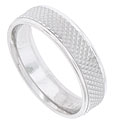 A multi-faceted carved surface covers the face of this 14K white gold mens wedding band
