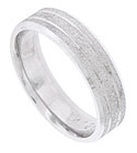 The roughened texture of this 14K white gold mens wedding band is engraved with two, bright narrow stripes